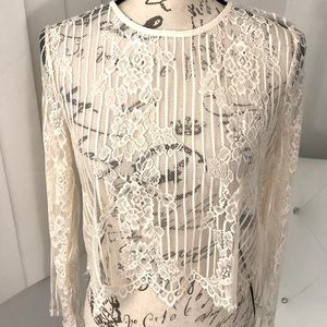 NEW Forever 21 Ivory Floral Lace Crew Neck Top S